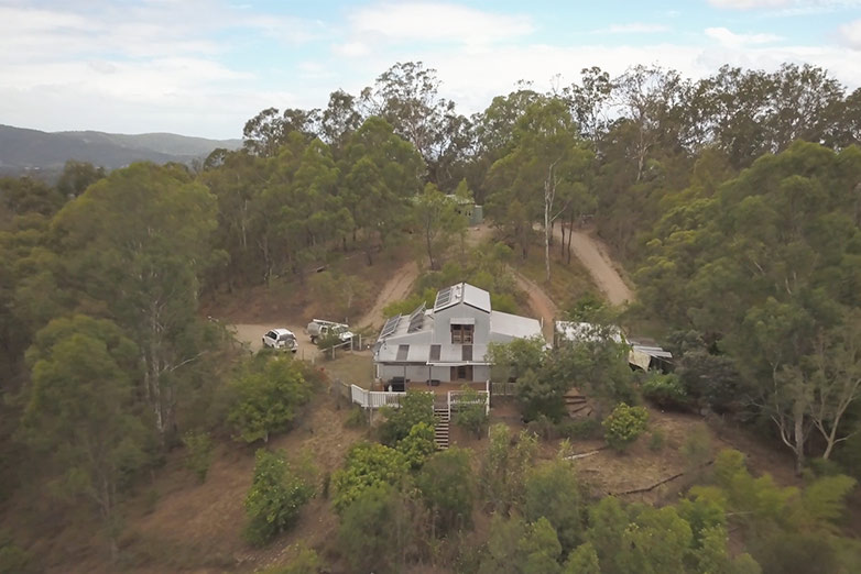 House with satellite internet for living off-grid